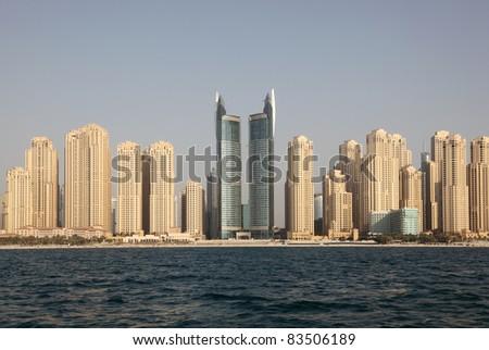 Jumeirah Beach Residence Cityscape. Dubai, United Arab Emirates - stock photo