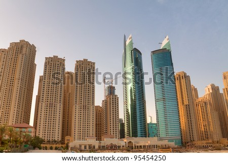 Jumeirah Beach Residence district with its skyscrapers - stock photo