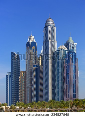 Jumeirah beach towers, Dubai, United Arab Emirates, December 2013 - stock photo