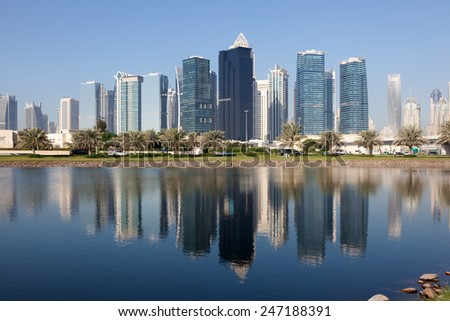 Jumeirah Lake Towers in Dubai, United Arab Emirates - stock photo