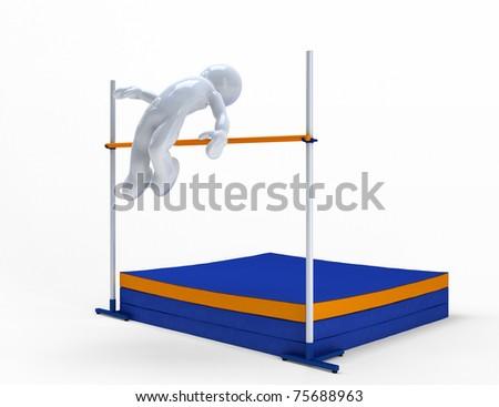 Jump 3d man. - stock photo