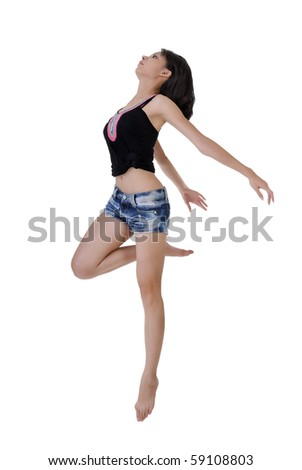Jump, full length portrait of Asian beauty isolated on white background. - stock photo