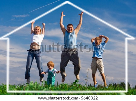 jump happy family mother father and two child. home of dream under blue sky - stock photo