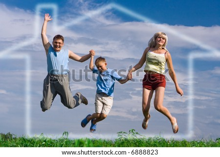 jump happy family on blue sky in house of dream