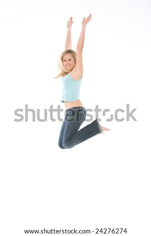 jump of a woman isolated on white background - stock photo