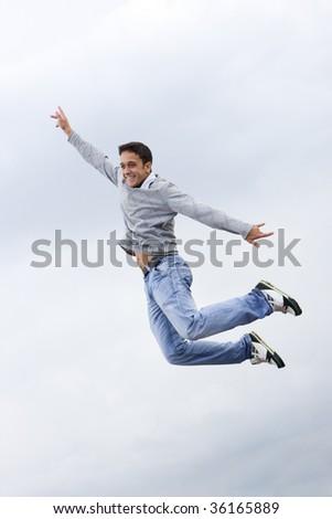 jump of happy man - stock photo