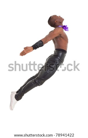 Jump. Young man dancing over a white background - stock photo