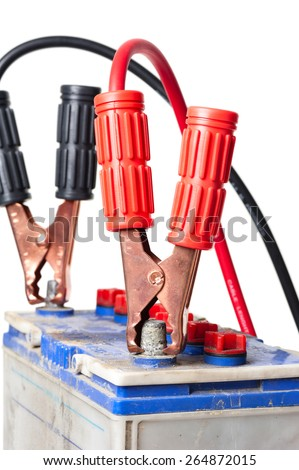 jumper cable for car battery isolated on white background - stock photo