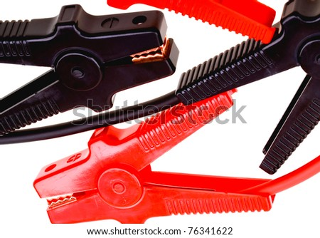 Jumper cables isolated on white background - stock photo