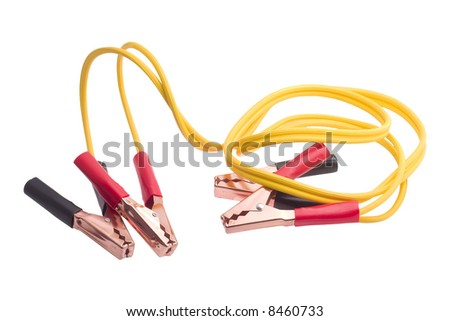 jumper cables with yellow cable isolated  on white background - stock photo