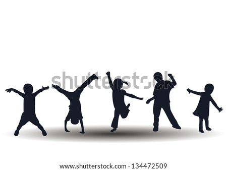 Jumping and playing happy kids - stock photo