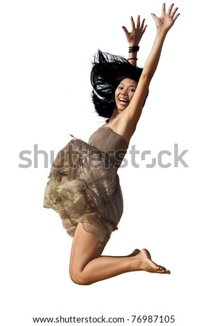 Jumping asian woman - stock photo