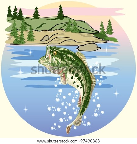 Jumping Bass in the Lake - stock photo