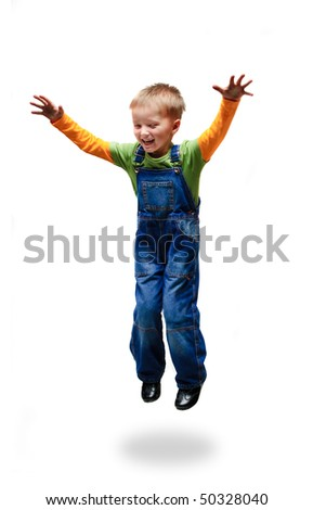 jumping boy against white background - stock photo