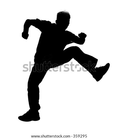 Jumping boy silhouette