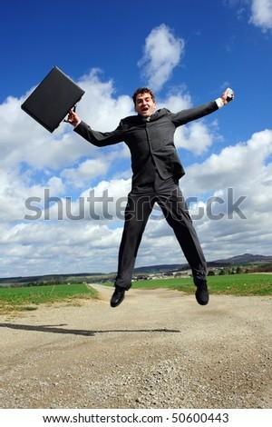jumping business-man - stock photo