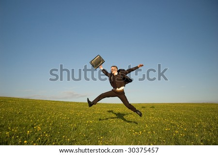 Jumping Businessman - stock photo