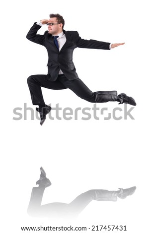 Jumping businessman isolated on the white - stock photo