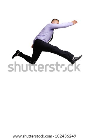 Jumping businessman isolated on white background - stock photo