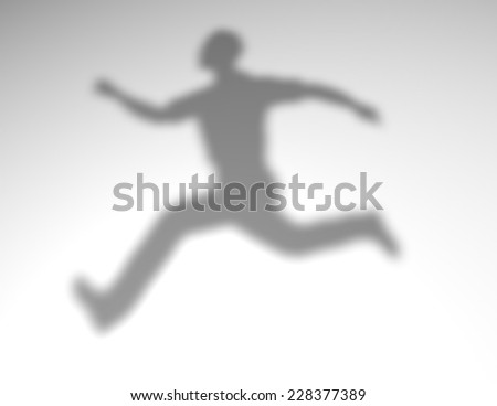 Jumping 3d man shadow render illustration. Overcoming obstacles and challenges abstract concept. - stock photo