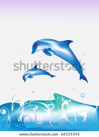 Jumping dolphins - stock photo