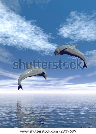 Jumping dolphins and beautiful sea view - 3d scene.