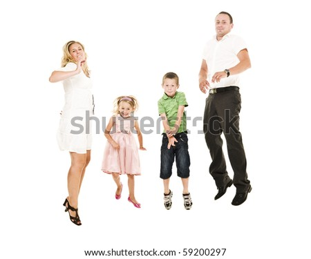 Jumping Family isolated on white background - stock photo
