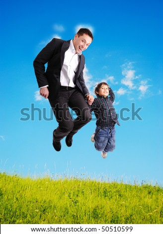 jumping, father and son, happiness