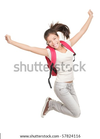 Jumping female college / university student isolated on white background. Young woman Asian Caucasian students.