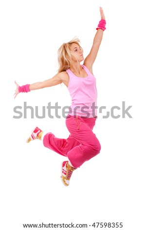 Jumping female dancer, isolated on white background.