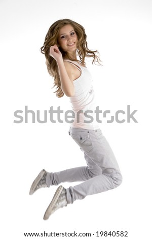 jumping female dancer on an isolated white background - stock photo