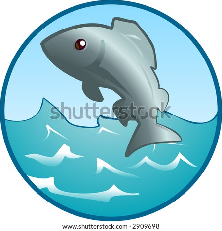 Jumping Fish An illustration of a fish jumping out of the water. Raster version - stock photo