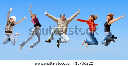jumping five - stock photo