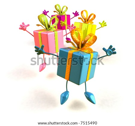 Jumping gifts - stock photo