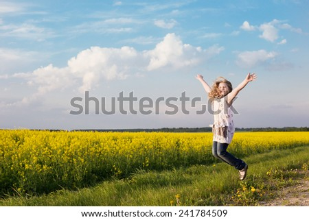 jumping girl in rape field
