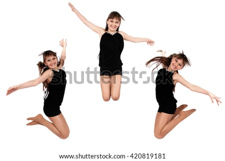 Jumping girl in three poses on white background