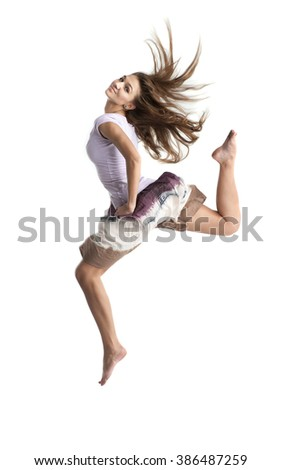 jumping girl isolated on white background - stock photo