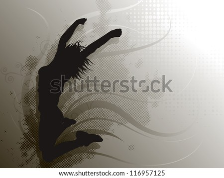 Jumping Girl on grey background - stock photo
