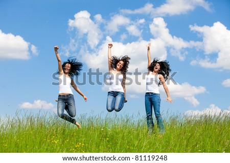 Jumping Girls - stock photo