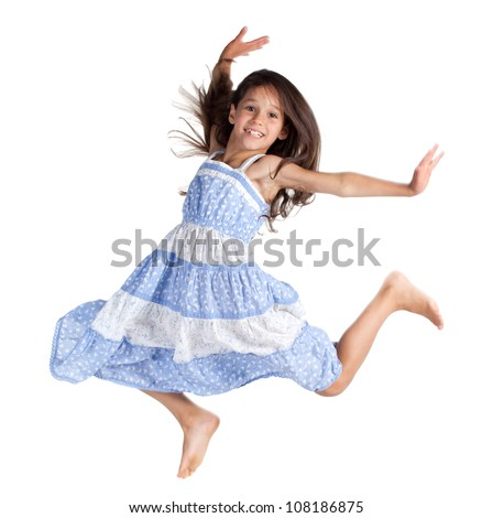Jumping happy little girl, isolated on white - stock photo