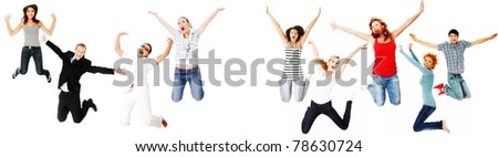 Jumping happy people, isolated on white background - stock photo