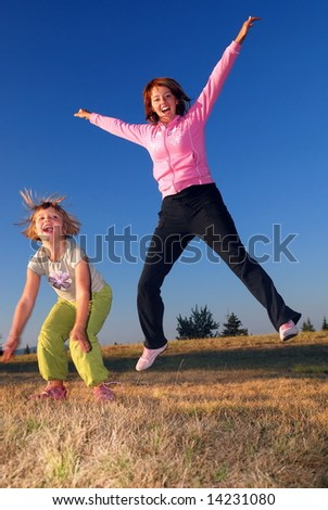 Jumping in to air - stock photo