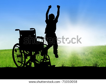 jumping invalid - stock photo
