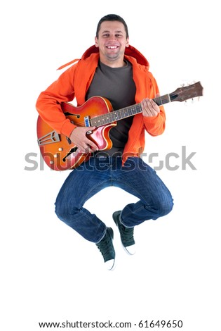 jumping joyful man with orange electric guitar