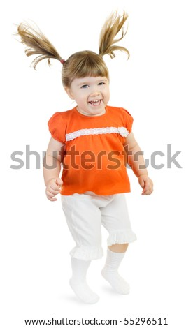 Jumping little girl isolated on white - stock photo