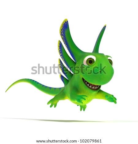 Jumping lizard - stock photo
