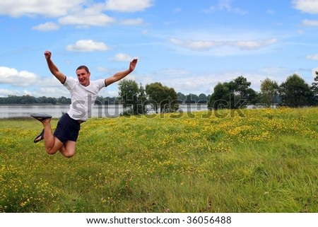 Jumping man - stock photo