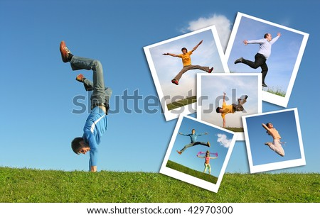 Jumping man in grass and photographs of the people , collage - stock photo