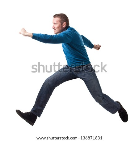 jumping man isolated on white background - stock photo