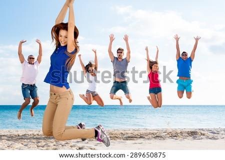 Jumping, Men, Excitement. - stock photo